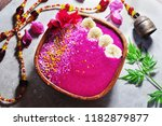 colorful smoothie bowl healthy... | Shutterstock . vector #1182879877
