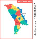 the detailed map of the moldova ... | Shutterstock . vector #1182884527