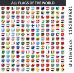 all flags of the world in... | Shutterstock . vector #1182889681