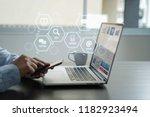 digital marketing media search... | Shutterstock . vector #1182923494