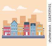 town scenery cartoons | Shutterstock .eps vector #1182935431