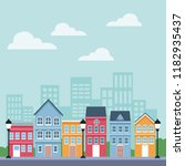 town scenery cartoons | Shutterstock .eps vector #1182935437