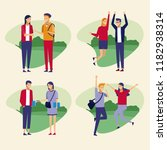 set of people at park | Shutterstock .eps vector #1182938314