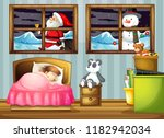girl sleeping in bedroom... | Shutterstock .eps vector #1182942034
