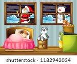 girl sleeping in bedroom... | Shutterstock .eps vector #1182942034