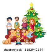 family gathering on christmas... | Shutterstock .eps vector #1182942154