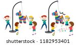 children hitting pinata game... | Shutterstock .eps vector #1182953401