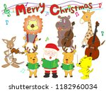 christmas concert at the zoo.... | Shutterstock .eps vector #1182960034