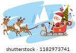 santa claus riding sleigh... | Shutterstock .eps vector #1182973741