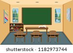 an interior empty classroom ... | Shutterstock .eps vector #1182973744