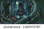 fantasy halloween forest...   Shutterstock .eps vector #1182975787