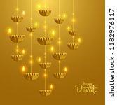 happy diwali. hanging paper... | Shutterstock .eps vector #1182976117
