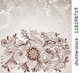 Romantic hand drawn floral background with label, illustration design - stock photo
