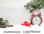 christmas gift box  alarm clock ... | Shutterstock . vector #1182990454