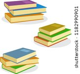 stack of books vector... | Shutterstock .eps vector #1182990901