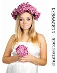 pregnant in a wreath with a bouquet - stock photo