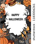 halloween party poster with... | Shutterstock .eps vector #1183006261
