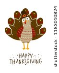 thanksgiving greeting card with ... | Shutterstock .eps vector #1183010824