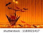 halloween decorations on wooden ... | Shutterstock . vector #1183021417