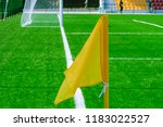 Small photo of Soccer, football field. Football soccer field with white marks, gate and stands, green grass texture and corner flag.