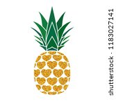 pineapple golden with hearts.... | Shutterstock .eps vector #1183027141