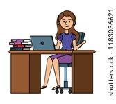 young woman at desk with laptop ... | Shutterstock .eps vector #1183036621