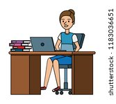 young woman at desk with laptop ... | Shutterstock .eps vector #1183036651