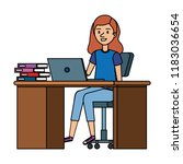 young woman at desk with laptop ... | Shutterstock .eps vector #1183036654