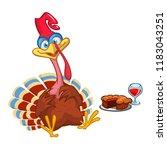 thanksgiving cartoon turkey... | Shutterstock .eps vector #1183043251