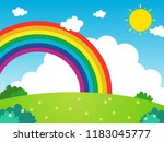 landscape with rainbow | Shutterstock .eps vector #1183045777