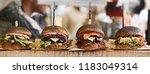 vegan burger in the street... | Shutterstock . vector #1183049314