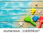 children toys on wooden deck | Shutterstock . vector #1183058167