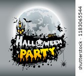 happy halloween party poster... | Shutterstock .eps vector #1183065544