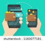 money transfer via mobile phone ... | Shutterstock . vector #1183077181