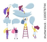 small girl characters talking.... | Shutterstock .eps vector #1183078744