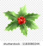 christmas holly branch... | Shutterstock .eps vector #1183080244