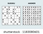 vector sudoku with answer 177.... | Shutterstock .eps vector #1183080601