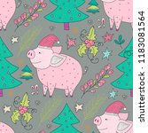 doodle christmas pig. christmas ... | Shutterstock .eps vector #1183081564