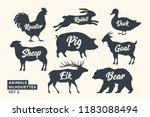 animals silhouette set. black... | Shutterstock .eps vector #1183088494