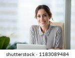 portrait of smiling beautiful... | Shutterstock . vector #1183089484