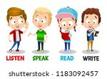 little children showing basic... | Shutterstock .eps vector #1183092457