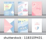 set of baby shower card on... | Shutterstock .eps vector #1183109431