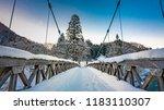 snow on wooden walkway    Shutterstock . vector #1183110307