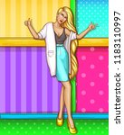 vector sexy girl with blonde... | Shutterstock .eps vector #1183110997