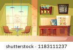 Stock vector vector cartoon cafe with window cozy interior with coffee machine table wooden furniture for 1183111237