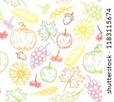 fall season harvest doodles... | Shutterstock .eps vector #1183115674