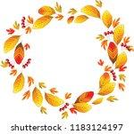 frame of autumn leaves  orange...   Shutterstock .eps vector #1183124197