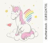 lovely cute unicorn sits on... | Shutterstock .eps vector #1183124731