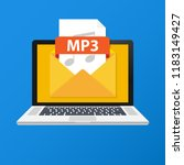 laptop with envelope and mp3... | Shutterstock .eps vector #1183149427