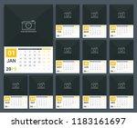 2019 calendar template  week... | Shutterstock .eps vector #1183161697